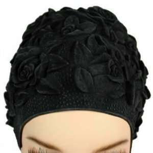 Floral Emboss Vintage Style Latex Swim Cap  BLACK   Made in Germany
