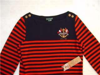 POLO RALPH LAUREN WOMENS Crest Boat Neck SHIRT Top Sweater M Striped