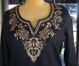 Boho Style Embellished Gold Embroidered Black Tunic Shirt Sz. L