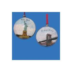 Pack of 6 New York City Scene Glass Christmas Disk