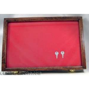 Cherry Wood Red Back Knife Glass Display Case 12 x18 x2