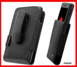 Leather Holster Case Pouch Cover for HTC Vivid 4G; Black Holder w/Belt