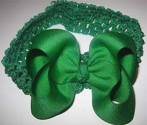 Green Boutique Hair Bow 4 Baby Toddler Girls Headband
