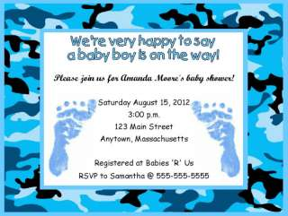 Boy Blue Feet Camouflage Baby Shower Invitations