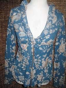 Sweet Pea Sheer Floral Long Sleeve Top Shirt Blouse M
