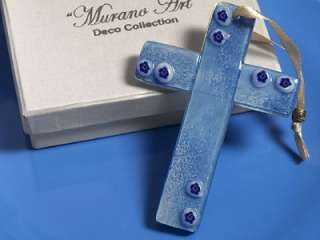 25 Murano Glass Art Deco Blue/White Cross Pendant Favor