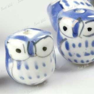 10 Blue Animal Owl Charm Ceramic Porcelain Beads PB0013