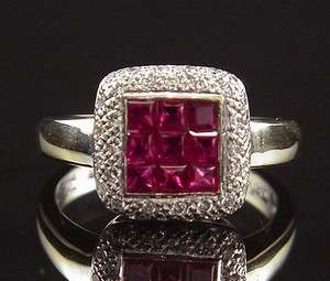 BREATHTAKING ESTATE 18K INVISIBLE SET NATURAL RUBY & PAVE DIAMOND