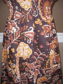 Speed Control Dark Brown Floral Print Lace Plunge VNeck Smocked Cotton