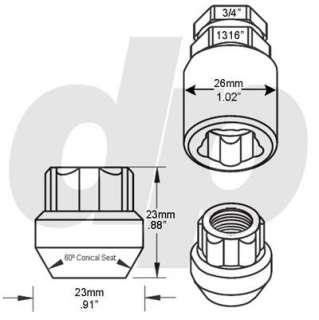 Chrome Open Bulge Acorn Locking Lug Nuts/Wheel Locks