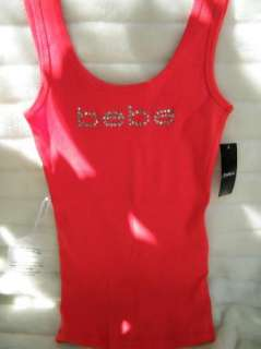 BEBE logo crystals t shirt red tank 162625 ribbed