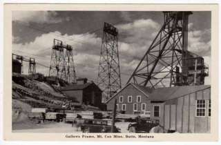 Postcard Gallows Frame @ Mt. Con Mine in Butte, Montana