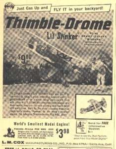 1959 ad lg thimble drome lil stinker l m cox models hot rod