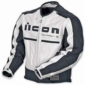 Icon Motorhead Leather Motorcycle Jacket White/Black