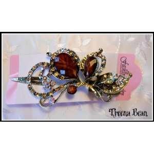 Treena Bean Vintage Fashion Jeweled Caramel Rhinestone Hair