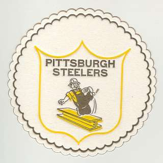 1950s PITTSBURGH STEELERS Logo Old Paper Drink Coaster