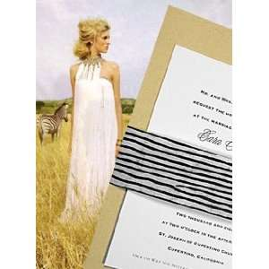 Invitations Kit Wheat with Zebra Print Sash