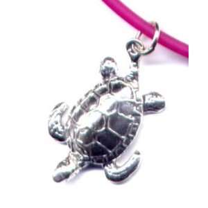 Fuschia Sea Turtle Ankle Bracelet Sterling Silver Jewelry Gift Boxed