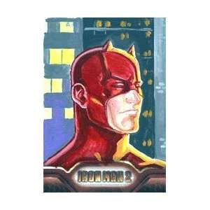 Color Painted Sketch Card of Daredevil by Joe Pekar