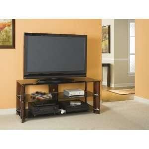 Panel TV Stand in Rosebud Cherry / High Gloss Black