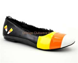 PLEASER Candy Corn Halloween Flats Womens Costume Shoes 885487428833