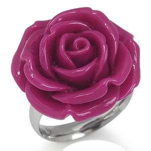 24MM Fuchsia Pink Stainless Steel ROSE FLOWER Ring