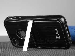 Black Aluminum TPU Hard Case Cover W/Chrome Stand For iPhone 4 4G 4S