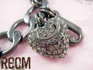NEW Juicy Couture Pave Heart Hematite Starter Bracelet