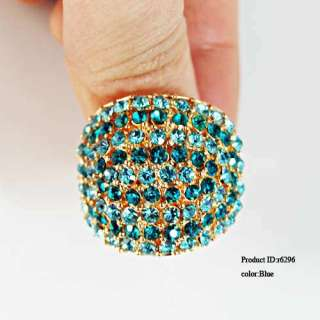 Stunning Wedding Gold Plated Spherical Gemstone Diamante CZ Ring