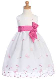 New Girls White Pink BUTTERFLY Special Occasion Dress