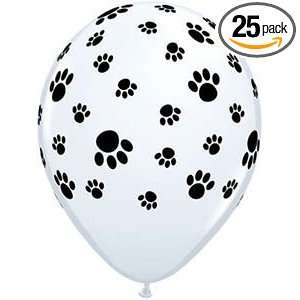 Qualatex 11 Paw Print White Balloons   Pack of 25 Health