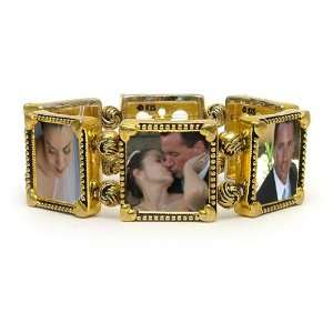 Memory Maker Antiqued Gold Tone Stretch Bracelet with Six