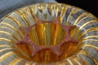 Art Deco  Sowerby  Amber Glass Flower Vase & Frog
