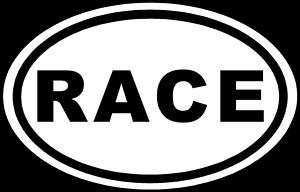 RACE Sticker White Oval Euro JDM Car Window Decal Track