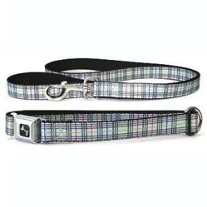 Gray Plaid Dog Collar & Leash Set   Large   Frontgate Pet