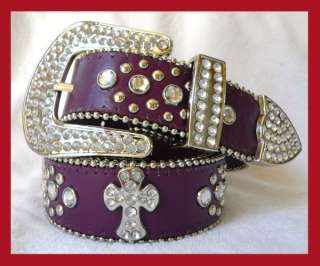 NEW WESTERN BUCKLE CONCHO RHINESTONE CROSS LEATHER BELT