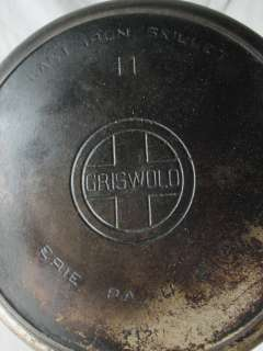 GRISWOLD NO.11 CAST IRON SKILLET FRYING PAN 717 W/SMOKE RING