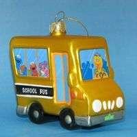 Sesame Street School Bus Glass Christmas Ornament