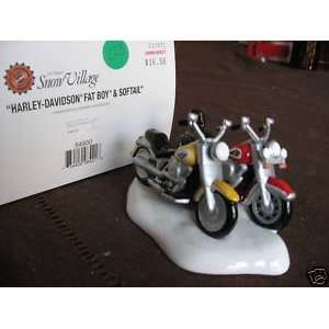 56   Snow Village Harley davidson Fat Boy & Softail