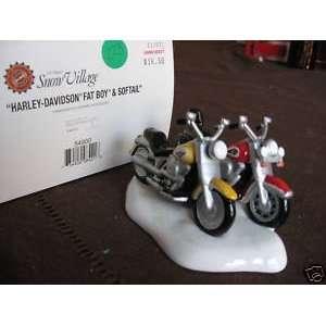 56   Snow Village Harley davidson Fat Boy & Softail