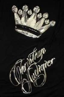 100% New Ed Hardy Christian Audigier Black Crown Chain Strap Sequin