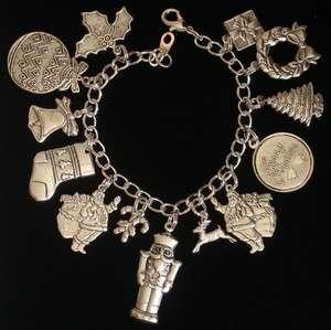 Christmas Charm Bracelet Holiday Oxidized Matte Silver 7 Nutcracker