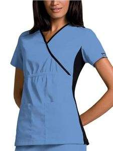 Cherokee Flexible Mock Wrap Scrub Top, sizes XS 3X, 8 available colors