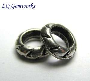100 ANTIQUE SILVER TONE Base Metal 8mm Ring Spacer Beads #412