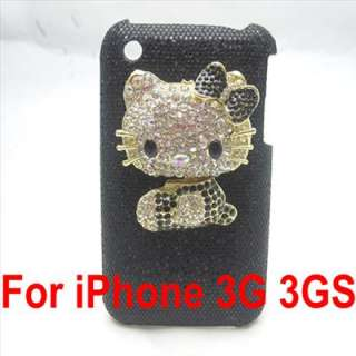Bling hello kitty black back case cover for iphone 3G 3GS