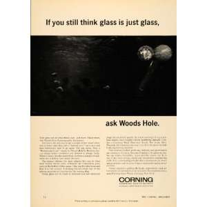 1966 Ad Corning Glass Works Woods Hole Oceanographic