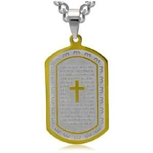 Mens Stainless Steel Two Tone Lords Prayer Dog Tag, 24