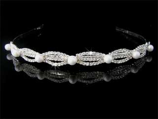 Silver Wedding/Bridal crystal veil tiara headband CR152