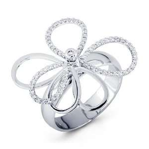 14k White Gold Flower Crown 0.31 Ct Round Diamond Ring