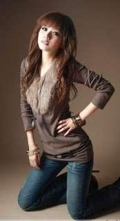 New Women Sunday Angora V neck Top shirts Z733 Blouse Long Sleeves